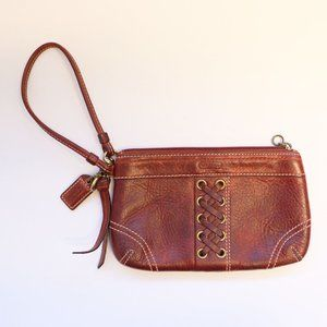 Coach Braided Rustic Distressed Leather Wristlet